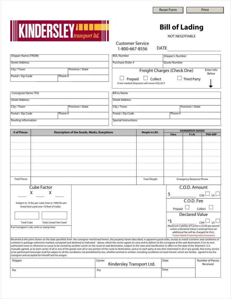 Estes Bill Of Lading 29 Bill Of Lading Templates Free Word Pdf Excel