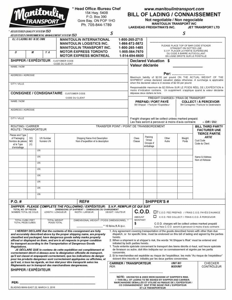 Estes Bill Of Lading 40 Free Bill Of Lading forms & Templates Template Lab