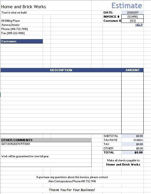 Estimate Template Google Docs 12 Free Sample Home Repair Estimate Templates Printable