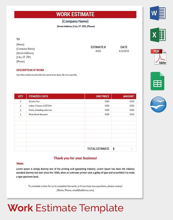 Estimate Template Google Docs 26 Blank Estimate Templates Pdf Doc Excel Odt