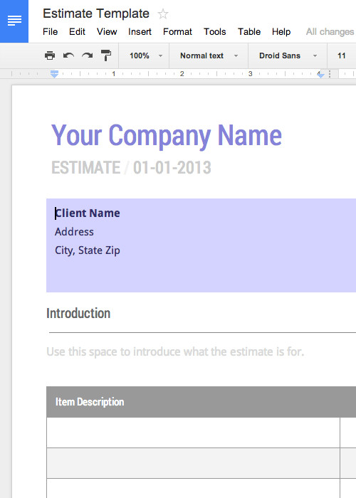 Estimate Template Google Docs Free Invoice & Timesheet Templates Cashboard