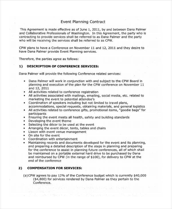 Event Planner Contract Template 11 event Contract Templates Free Sample Example format
