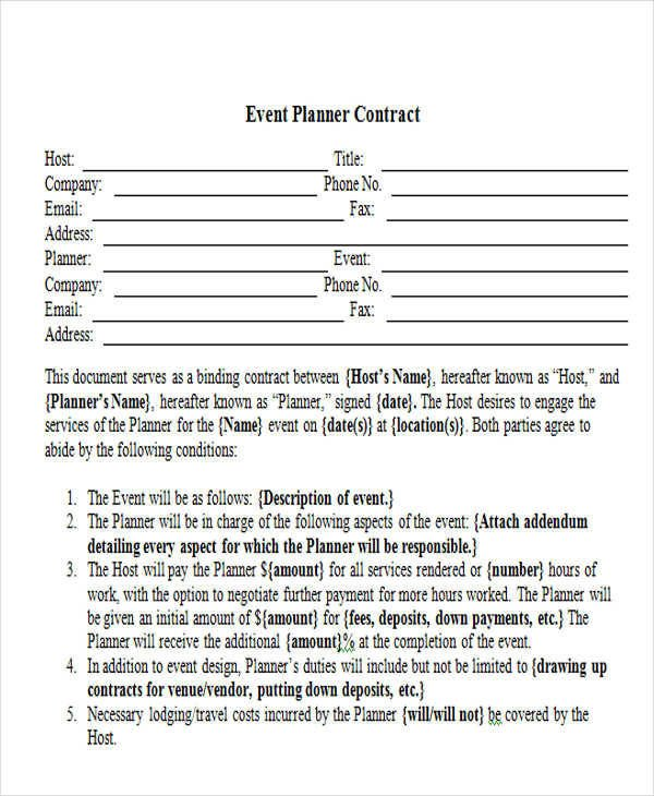 Event Planner Contract Template 15 event Contract Templates Sample Example format