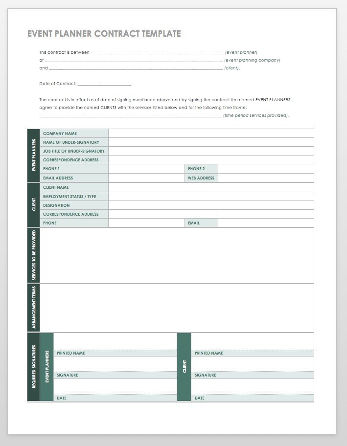Event Planner Contract Template 21 Free event Planning Templates