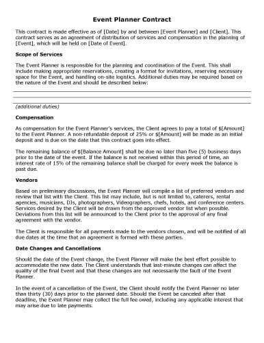 Event Planner Contract Template 32 Sample Contract Templates In Microsoft Word