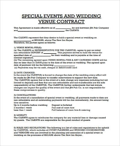 Event Planner Contract Template Contract Agreement Sample 13 Examples In Pdf Word