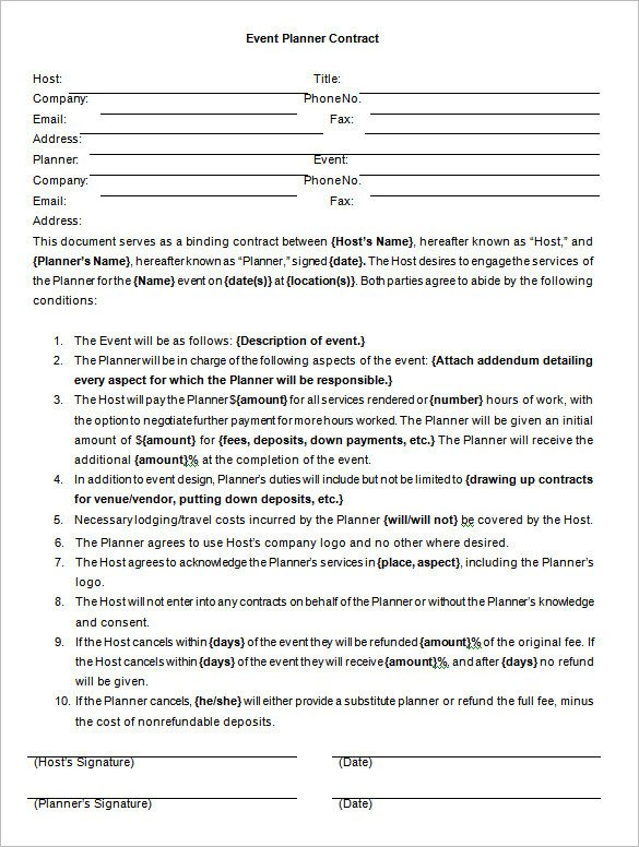 Event Planner Contract Template event Contract Template – 14 Free Word Excel Pdf
