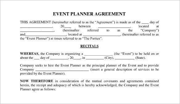 Event Planner Contract Template event Contract Template 23 Word Excel Pdf Documents