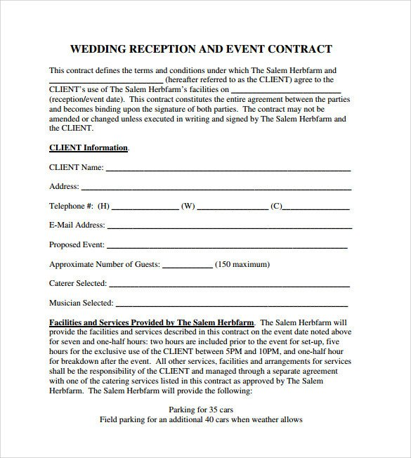 Event Planner Contract Template event Contract Template 25 Download Documents In Pdf