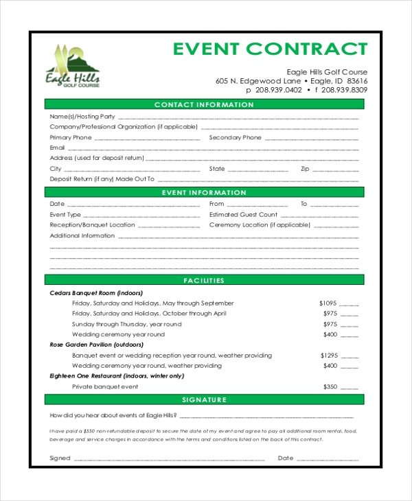 Event Planner Contract Template Sample event Contract form 10 Free Documents In Word Pdf