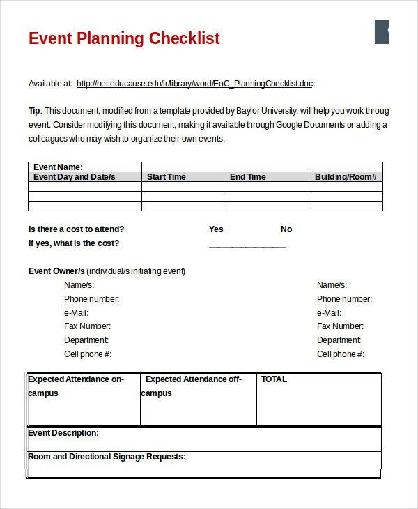 Event Planning Checklist Template Excel event Planning Checklist 16 Free Word Pdf Documents