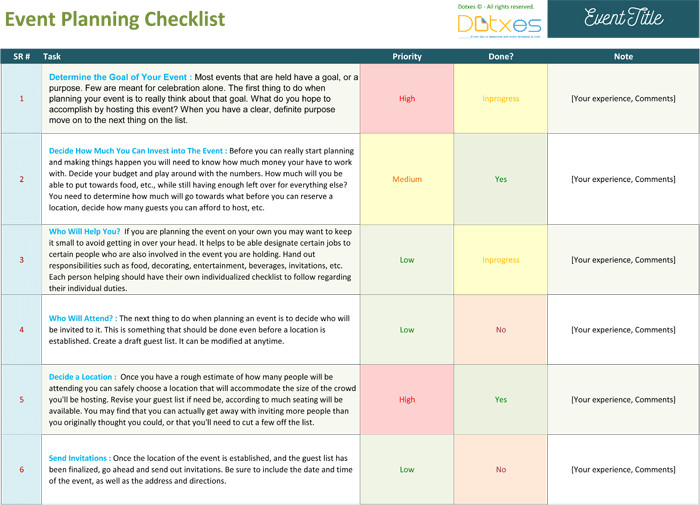 Event Planning Checklist Template Excel event Planning Checklist to Keep Your event Track