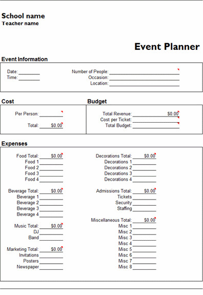 Event Planning Checklist Template Excel Microsoft Excel event Planner Template