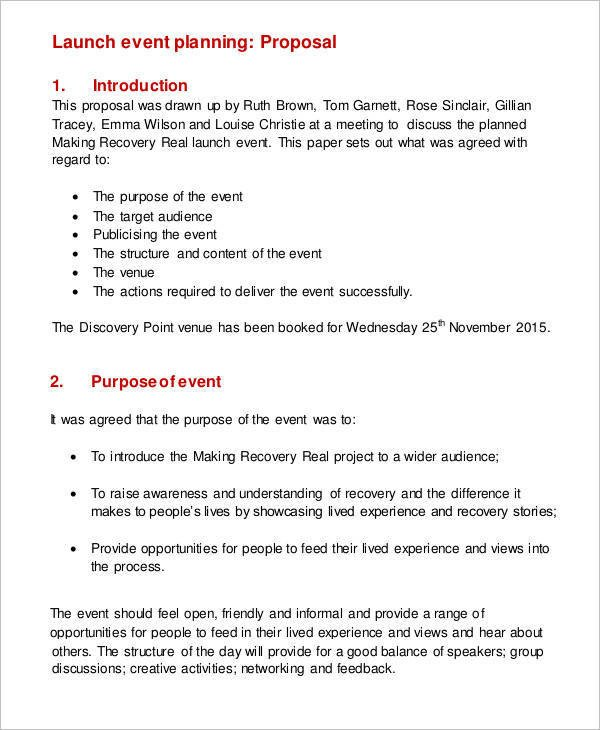 Event Planning Proposal Template 11 Plan Proposal Templates Free Sample Example format