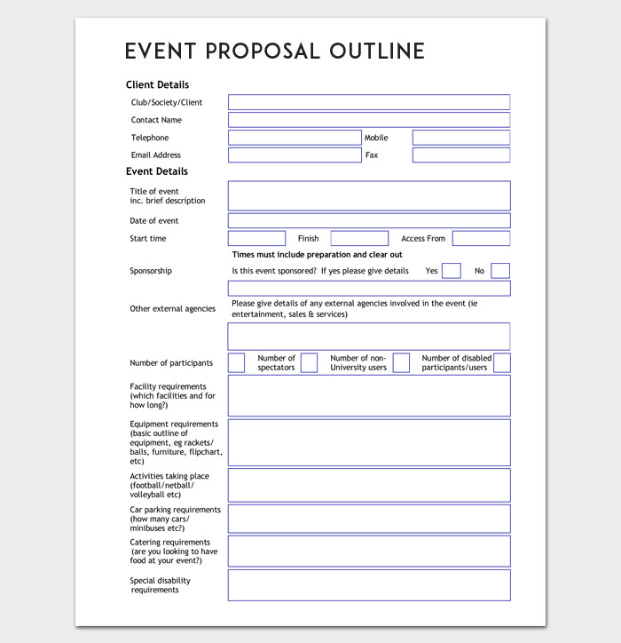 Event Planning Proposal Template event Outline Template 9 Samples & Examples for Pdf format