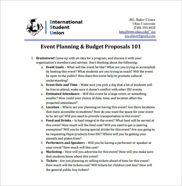Event Planning Proposal Template event Proposal Template 24 Free Word Pdf format