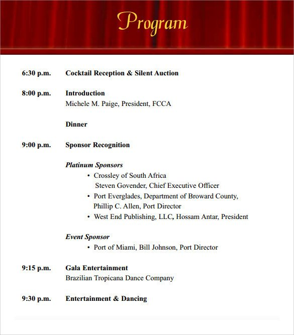 Event Program Template Word 38 event Program Templates Pdf Doc