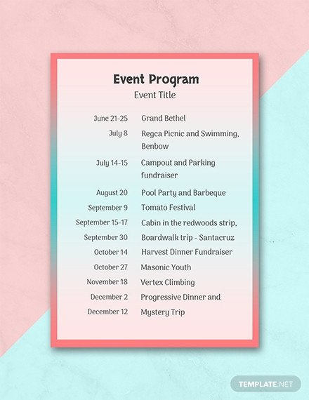 Event Program Template Word Free event Program Template Download 31 Program