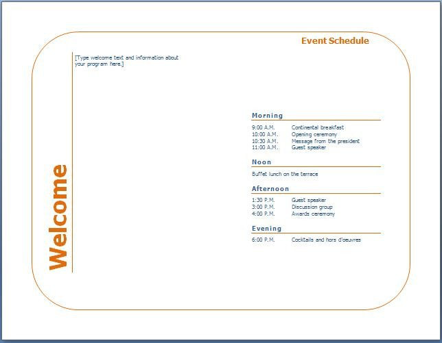 Event Program Template Word Generic event Program Template