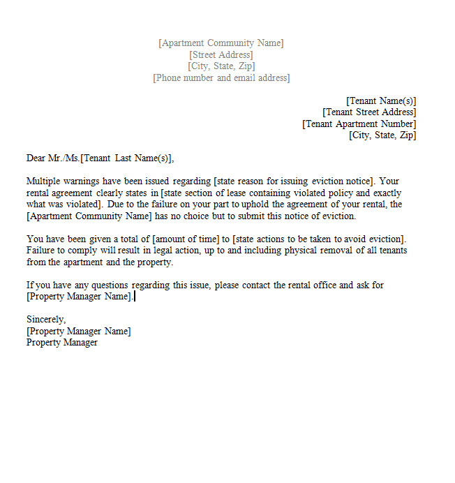 Eviction Notice Letter Template 45 Eviction Notice Templates & Lease Termination Letters