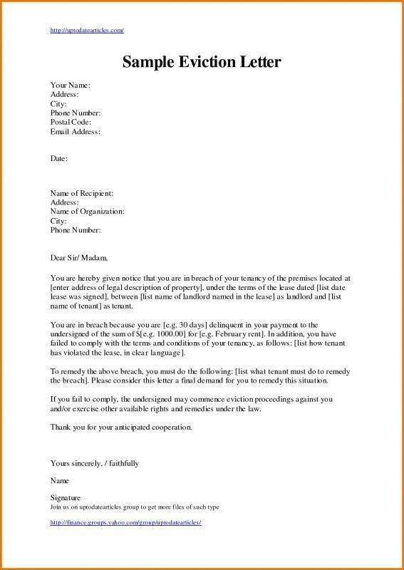 Eviction Notice Letter Template Eviction Letter Template Template