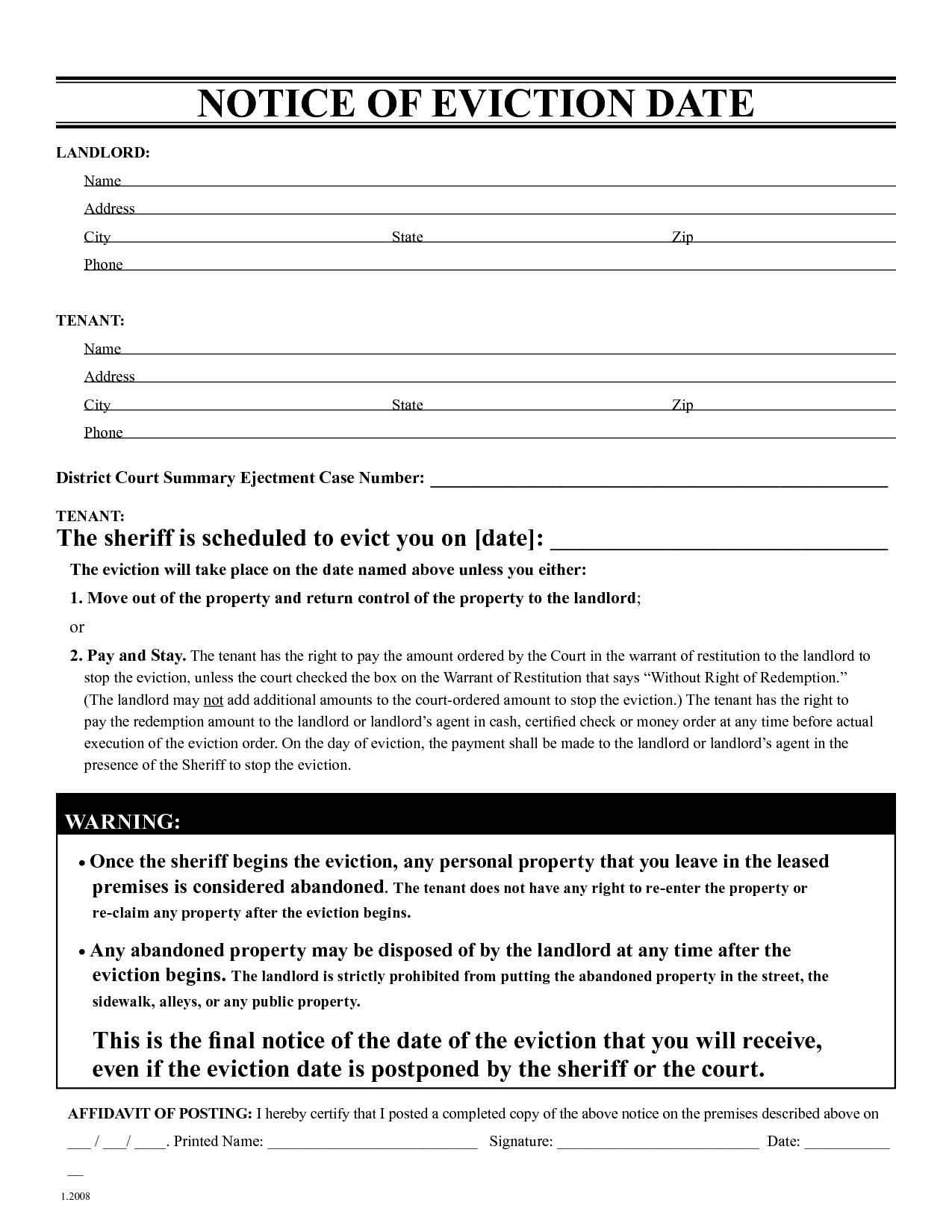 Eviction Notice Letter Template Free Eviction Notice Template