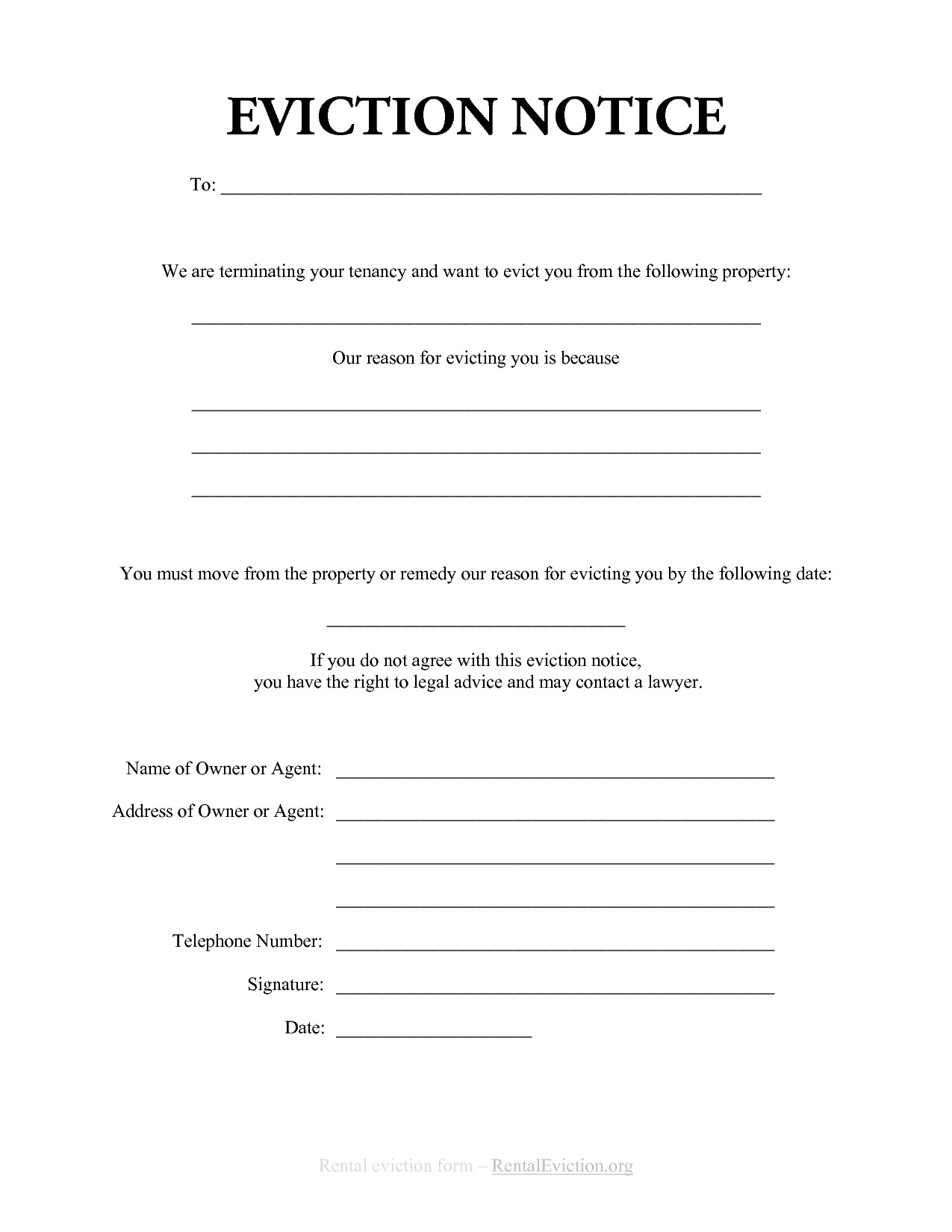 Eviction Notice Letter Template Free Print Out Eviction Notices