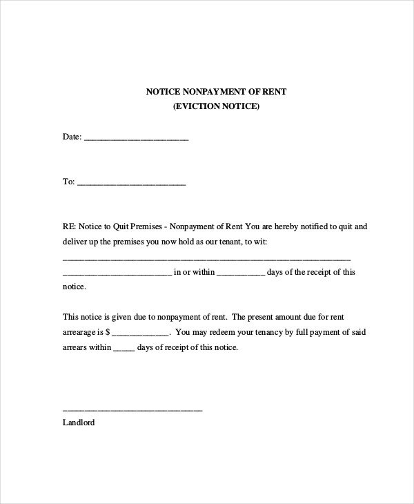 Eviction Notice Letter Template Sample Eviction Notice for Nonpayment Rent