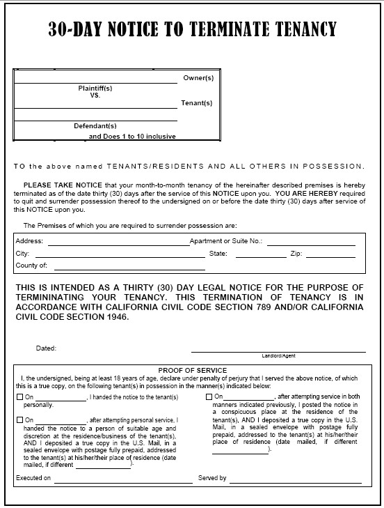 Eviction Notice Template Alabama 30 Day Eviction Notice