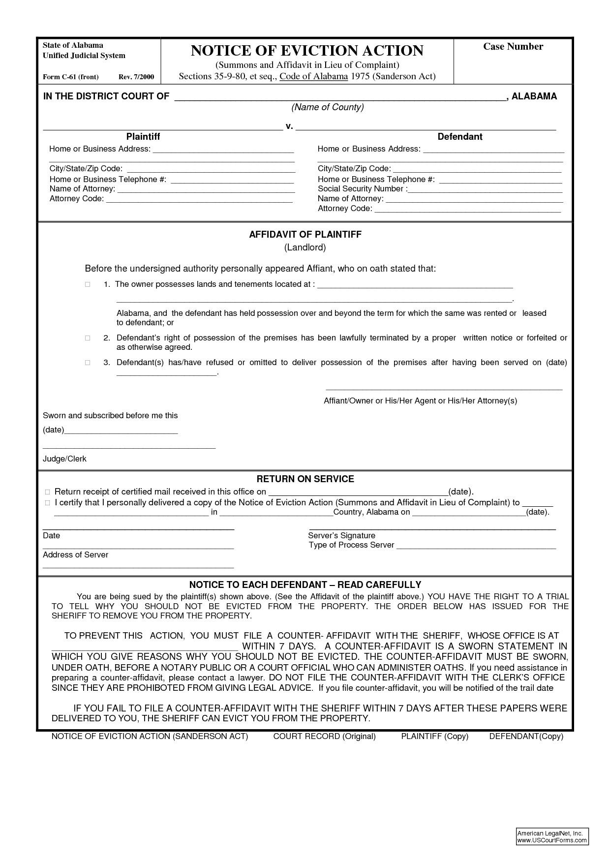 Eviction Notice Template Alabama Alabama 7 Day Eviction Notice Ideas