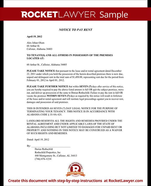 Eviction Notice Template Alabama Alabama Eviction Notice form Alabama Eviction Notice Sample