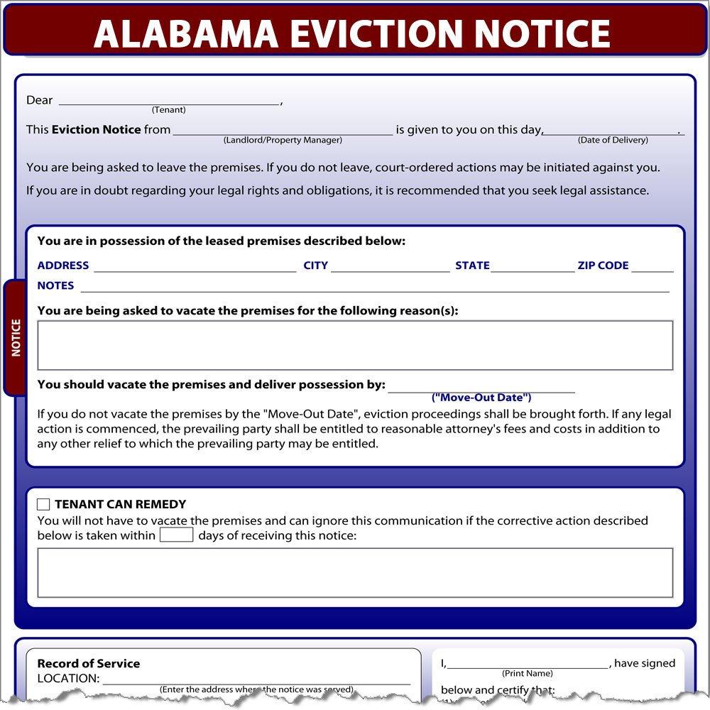 Eviction Notice Template Alabama Alabama Eviction Notice