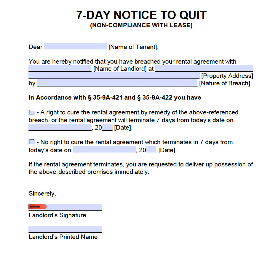 Eviction Notice Template Alabama Free Alabama 7 Day Notice to Ply or Quit