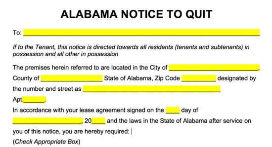 Eviction Notice Template Alabama Free Alabama Eviction Notice forms