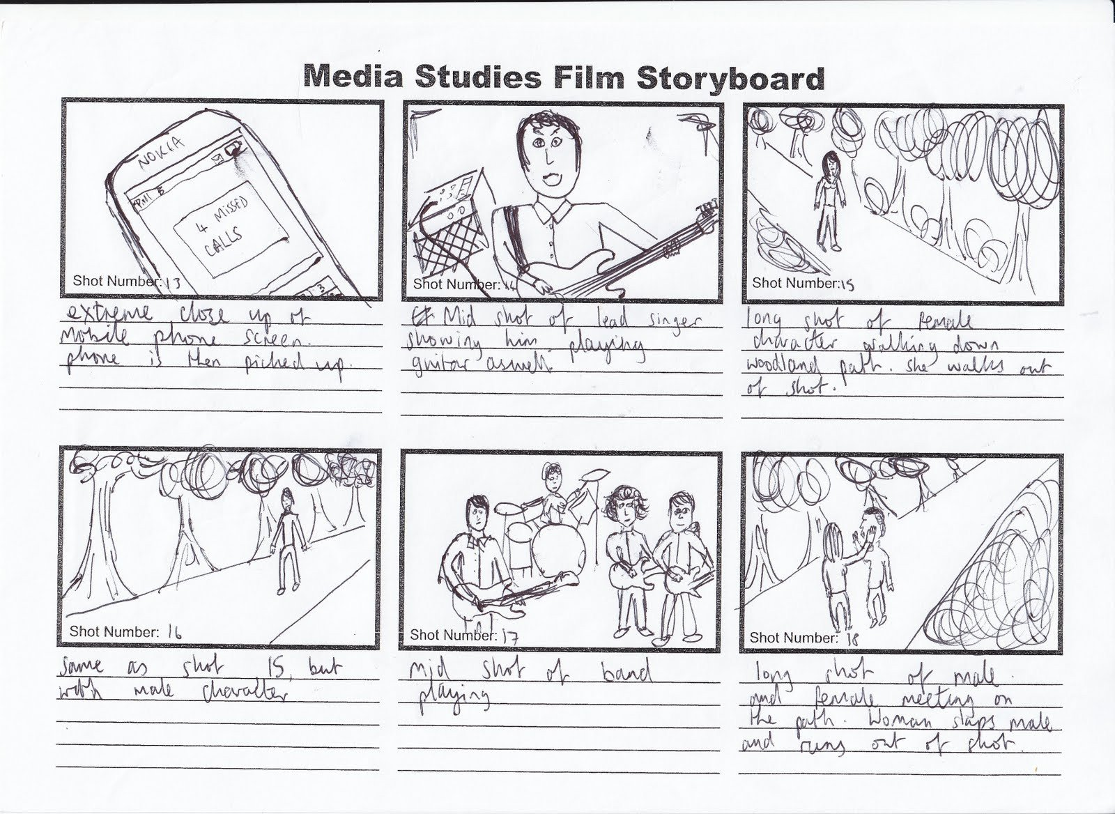 Example Of A Storyboard Kris Barnard Media A2 Music Video Storyboard