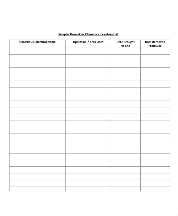 Example Of Inventory List Inventory List Sample 9 Examples In Word Pdf