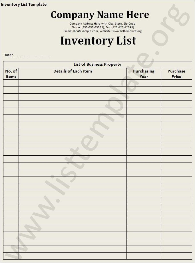 Example Of Inventory List Inventory List Template Craft Ideas