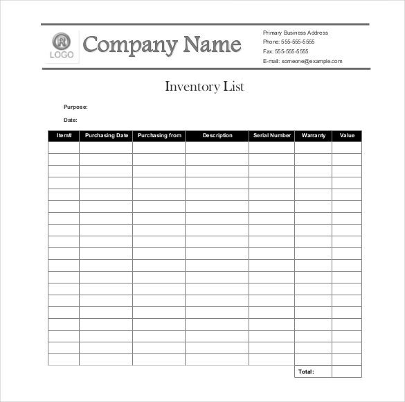 Example Of Inventory List Sample Inventory List 30 Free Word Excel Pdf