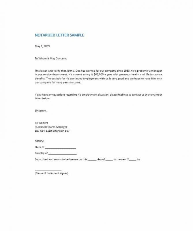 Example Of Notarized Letter Notarized Letter format