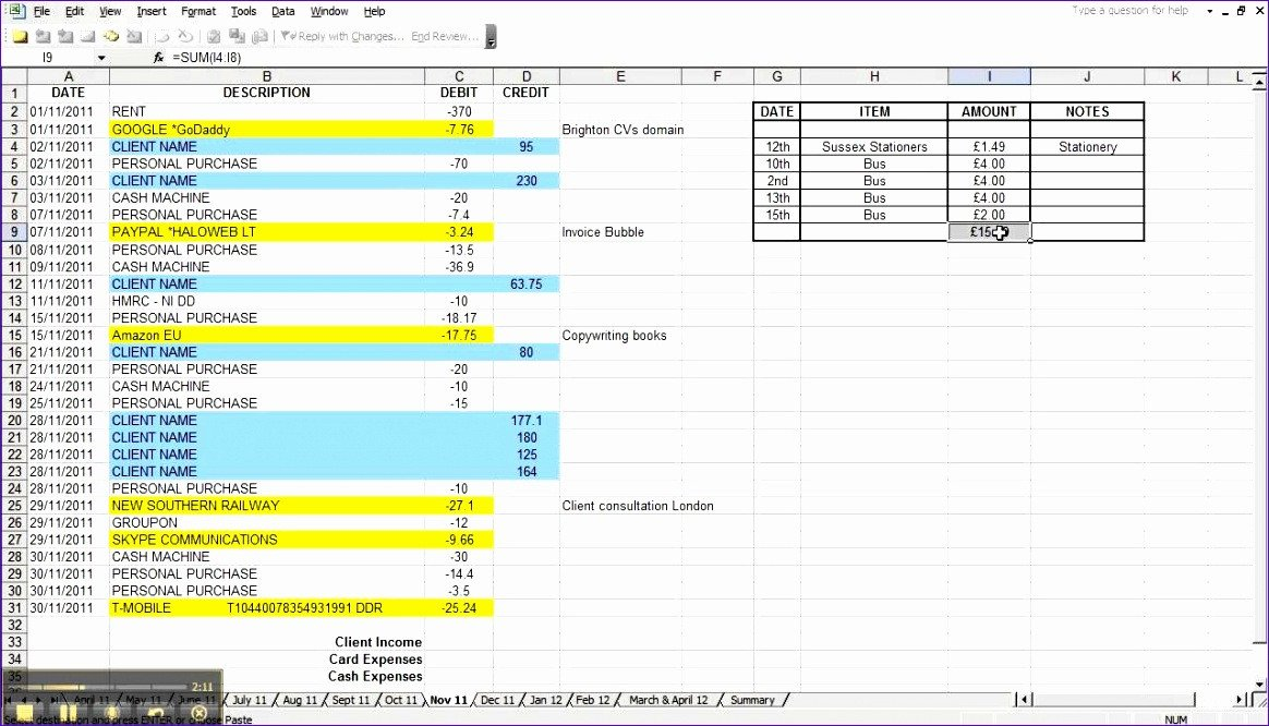 Excel Banking Spreadsheet 10 Excel Expenses Template Uk Exceltemplates