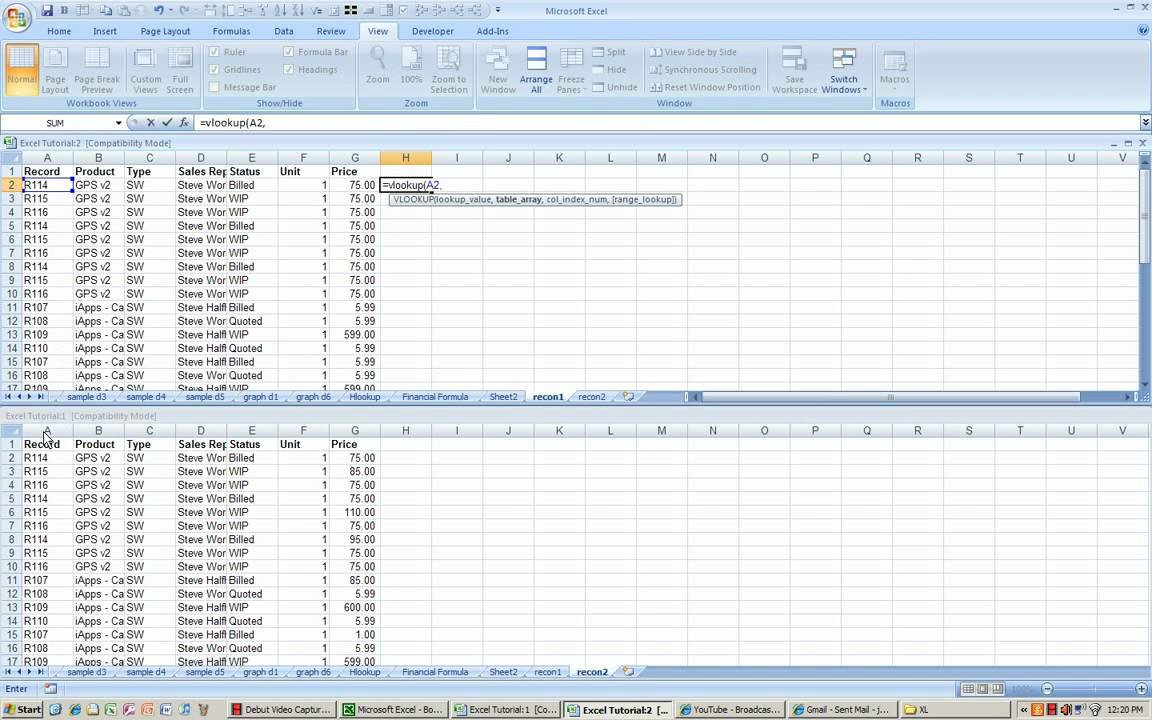 Excel Banking Spreadsheet Excel Reconciliation Process Using Vlookup