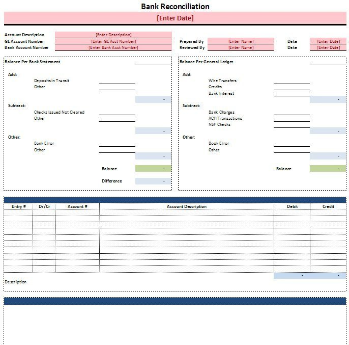 Excel Banking Spreadsheet Free Excel Bank Reconciliation Template Download