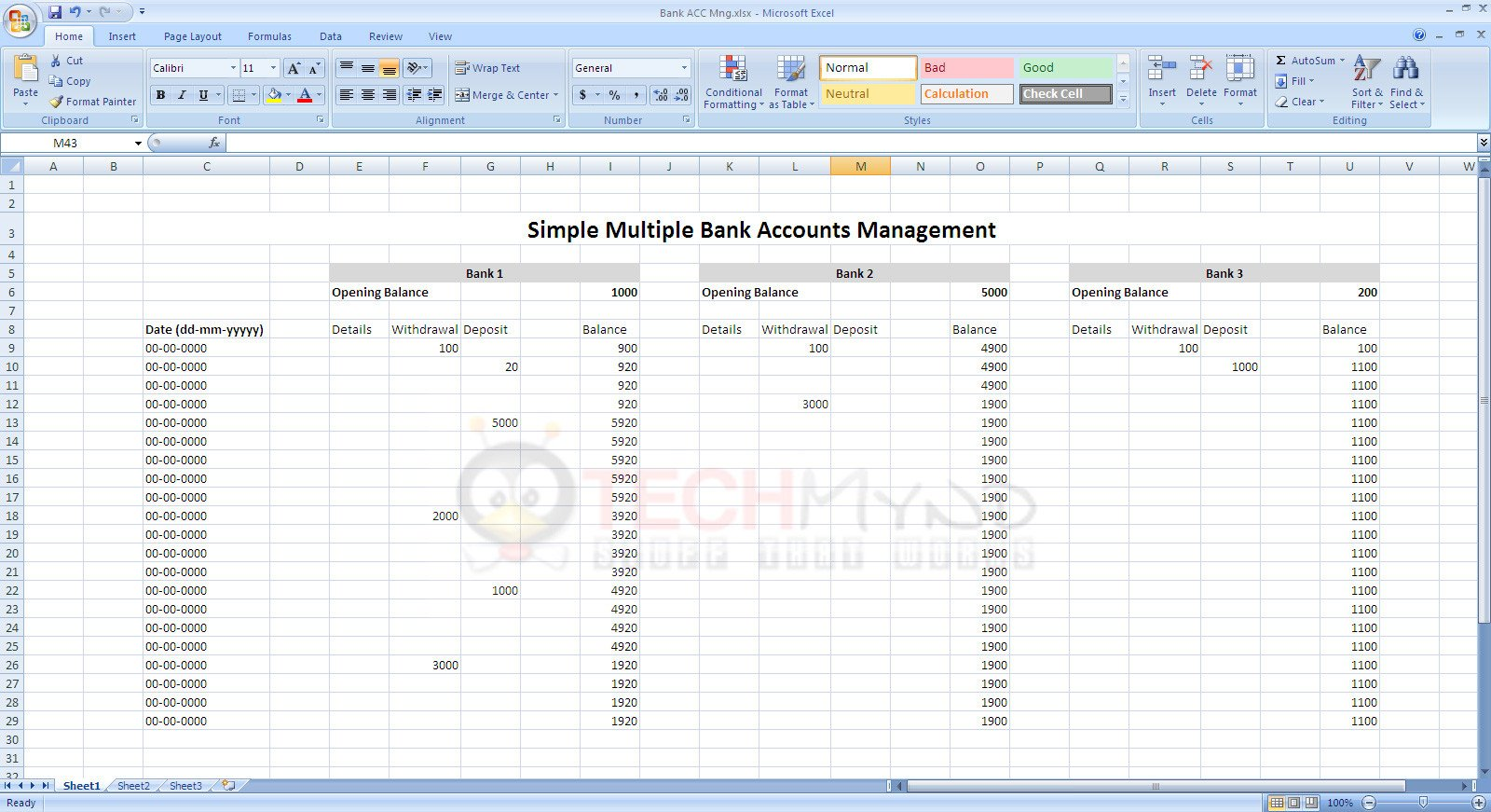Excel Banking Spreadsheet Manage Bank Accounts Using Simple Excel Sheet Freebies