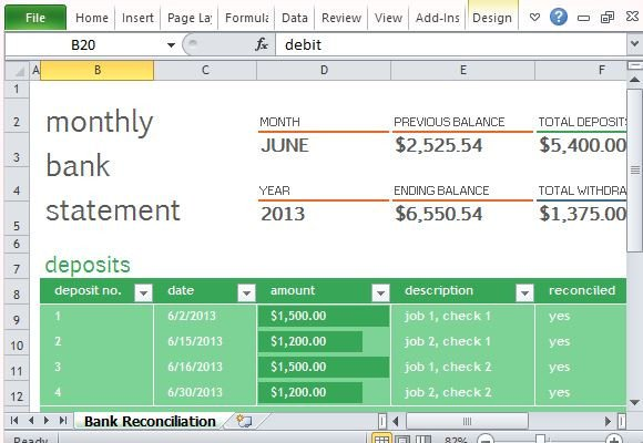 Excel Banking Spreadsheet Monthly Bank Reconciliation Template for Excel