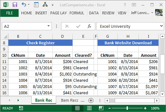 Excel Banking Spreadsheet Paring Spreadsheet Lists with Ease