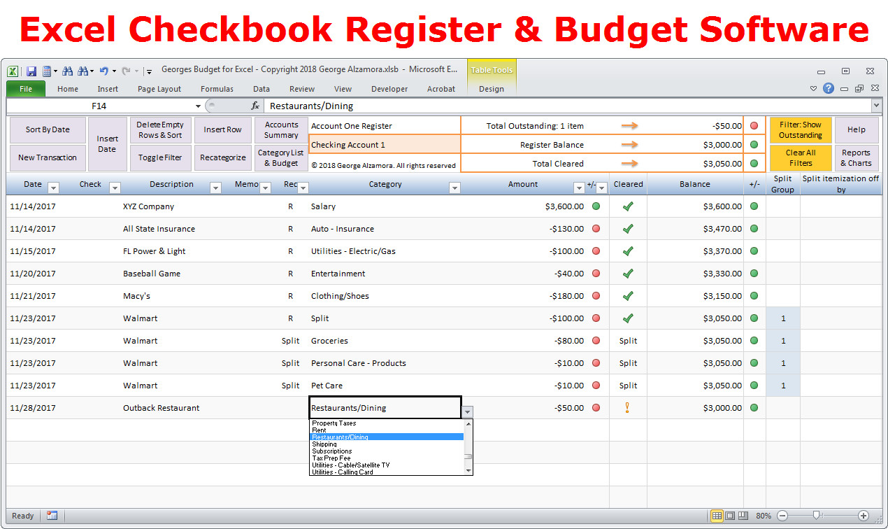 Excel Banking Spreadsheet Personal Bud Ing software Excel Bud Spreadsheet