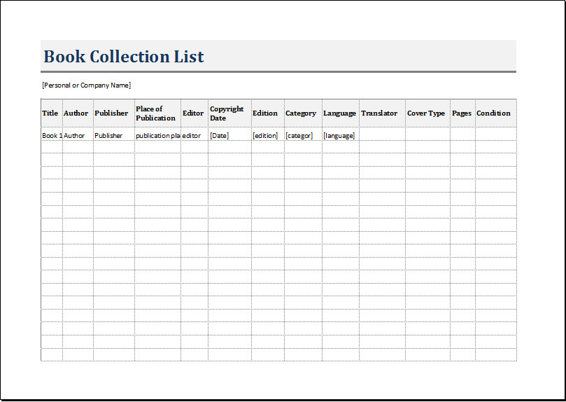 Excel Book Inventory Template Book Inventory List Template for Excel