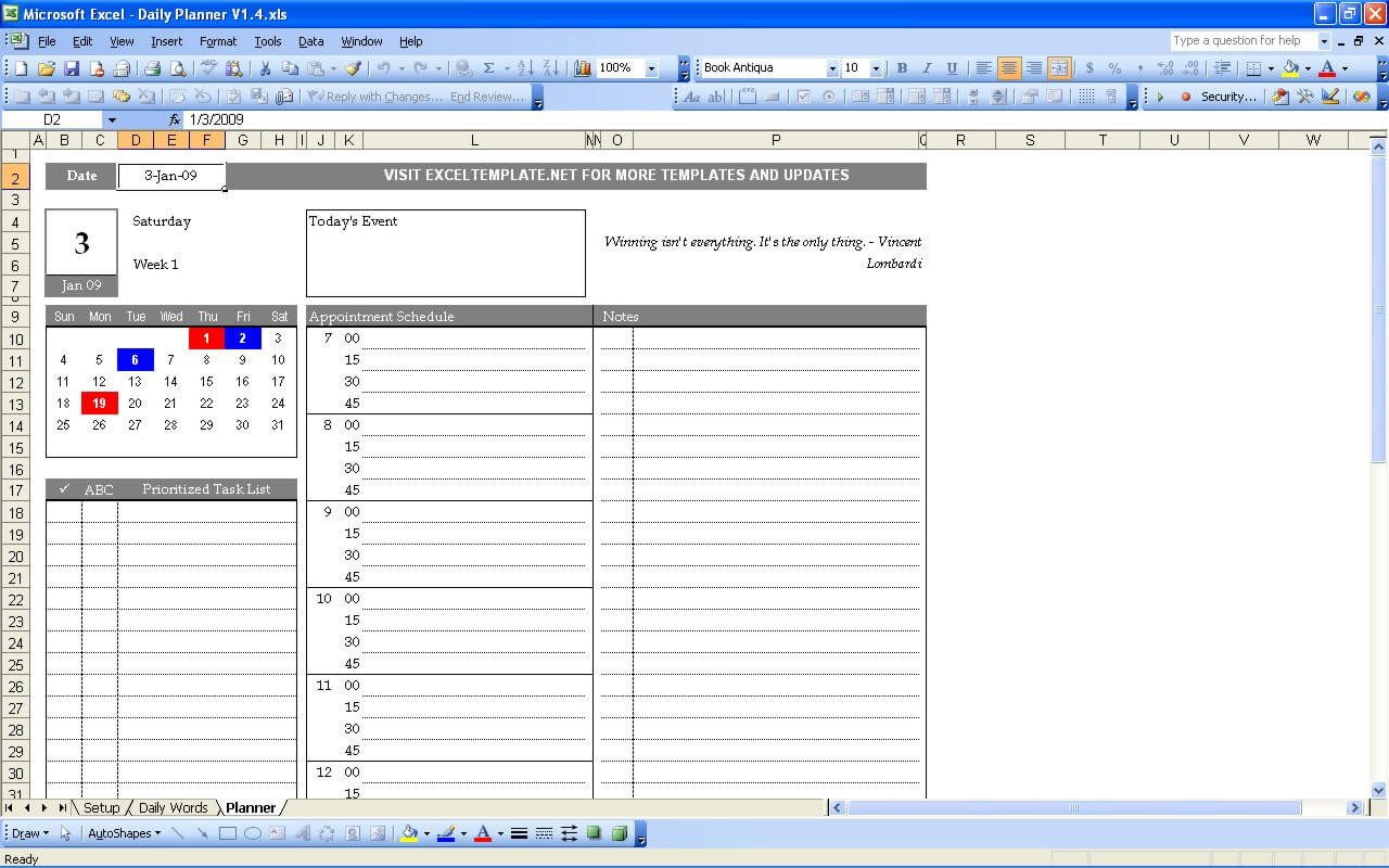 Excel Daily Planner Template Daily Planner