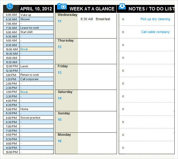 Excel Daily Planner Template Daily Planner Template 10 Free Samples Examples format