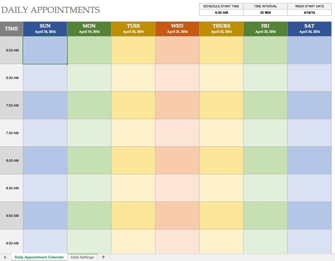Excel Daily Planner Template Free Excel Calendar Templates